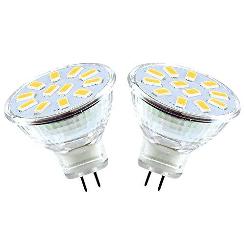 Bonlux 2W MR11 GU4.0 LED Bulbs 10-30V AC/DC 120 Degree Beam Angle LED G4/GU4 Bi-pin Base 20W Halogen Bulbs Equivalent MR11 Spotlight Warm White for Landscape Accent Recessed Track Lighting - Base G4 Mr11