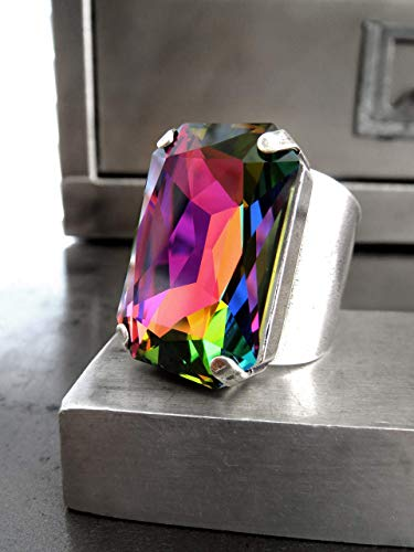 - Large Rainbow Cocktail Ring with Swarovski Crystal - LGBTQ Gay Pride Drag Queen Ring