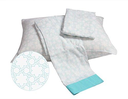 Bacati Floral Muslin 3 PieceToddler Bedding Sheet Set, Aqua by Bacati