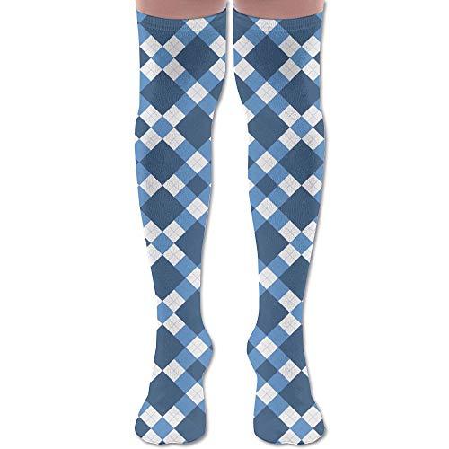 RobotDayUpUP Argyle Pattern Womens Long Socks,Lovely Girls Skirt Stockings Knee Thigh Socks Running Soccer Sports Dance Yoga Cheerleader Hiking Outdoor (Argyle Anklet)