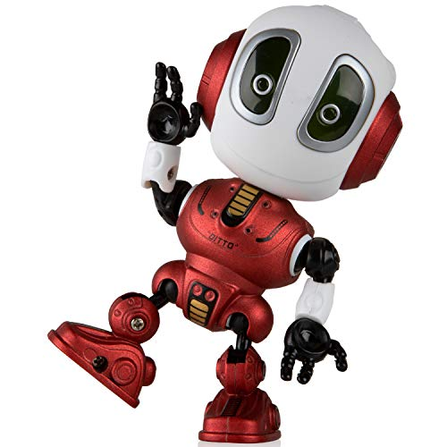 Voice Changer Talking Robots for Kids - Mini Metal Robot Toy with Posable Body, Educational Smart Learning Stem Toys and Robotics for Kids (Red)