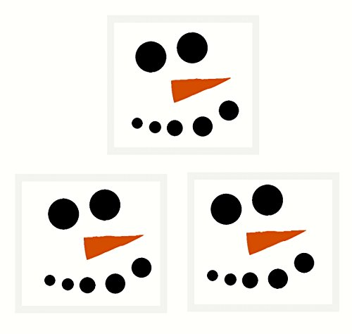 Wall Decor Plus More WDPM3297 Snowman Face with Carrot Nose Winter Wall Decal Art for Seasonal Decor, 3-Inch, Black/Orange Nose, Set of 3