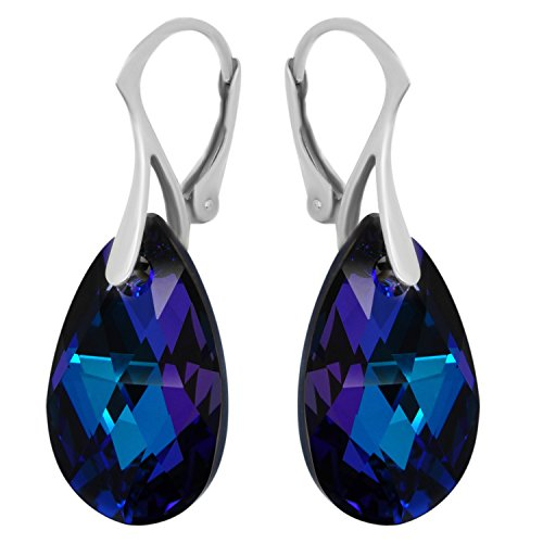 Purple Blue Sterling Silver 925 Made with Swarovski Crystals Teardrop Earrings for Women Girls (Purple Crystal Blue)