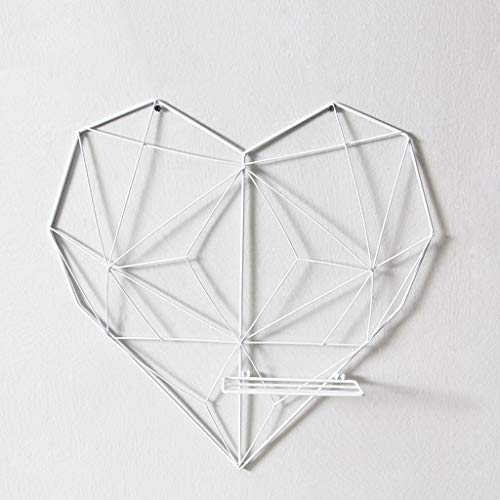 Chai jia Heart-Shaped Metal Decorative Frame Multi-Function Wall-Mounted Pendant Grid Photo Wall Living Room Cafe Shelf (Color : White)