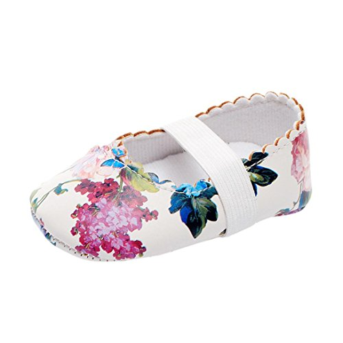 Babyschuhe Longra Baby Mädchen Blumenmuster Krippe Schuhe Weiche alleinige Anti Rutsch Turnschuhe Bootsschuhe Lauflernschuhe(0 ~ 18 Monate) White