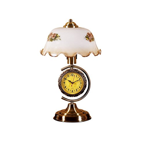 FMEZY American Retro with Clocks and Old Table Lamp Bedroom European Bedside Lamp Study Room Living Room Modern Decorative Desk Lamp