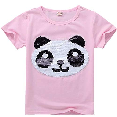 Tsyllyp Girl T-Shirt Animal Magic Sequin Boys Short Sleeve Cotton Tee Shirts