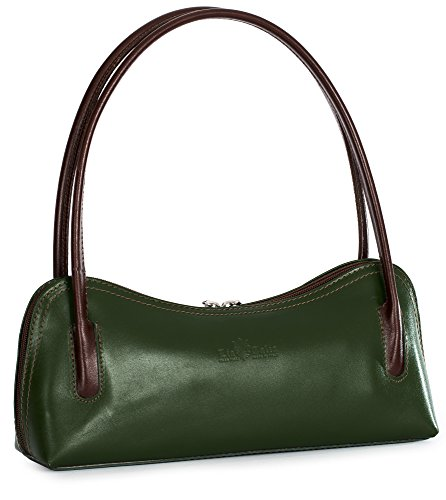 LiaTalia Womens Real Italian Leather Small Satchel Clutch Evening Shoulder bag with Protective Storage Bag -Arya (Green - Brown - Green Brown Female