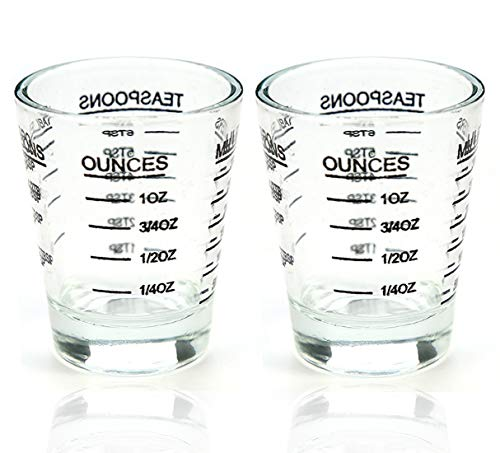 Shot Glasses Measuring cup Liquid Heavy Glass Wine Glass Espresso Shot Glass 26-Incremental Measurement 1 OZ 4 Features 45ML (2 pack-black 30ml) ()