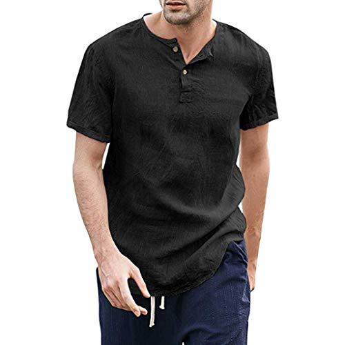 Summer Men's Shirt Cool Thin Breathable Solid Button Cotton Linen Short Sleeve Henley T-Shirts Black ()