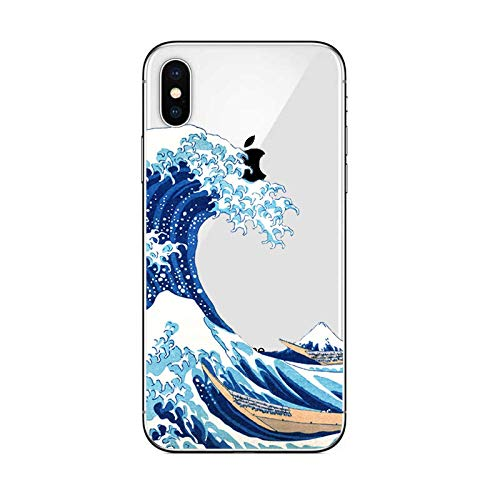 DECO FAIRY Compatible with iPhone XR, Cartoon Anime Animated Great Wave Off Kanagwa Series Transparent Translucent Flexible Silicone Cover Case