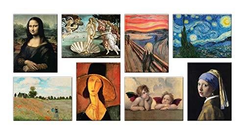 LuxHomeDecor - Cuadros famosos 8 piezas 40 x 30 cm Impresion sobre lienzo con marco de madera Van Gogh Botelles Monet Raffaello Modigliani Leonardo da Vinci Munch Vermeer