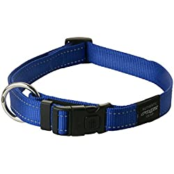 ROGZ Reflective Dog Collar for Large Dogs, Adjustable from 13-22 inches, Blue