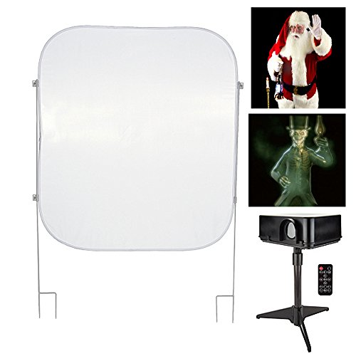 Mr. Christmas - Christmas & Halloween Indoor/Outdoor Virtual Holiday Projector Kit with Pop Up Screen (Mr Projector Christmas)