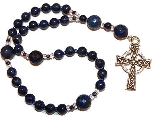 Custom Designed Anglican Rosary of Lapis, Sturdy Celtic Cross