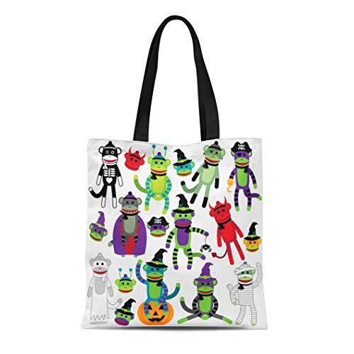 Semtomn Cotton Canvas Tote Bag Retro Collection of Adorable Halloween Sock Monkeys Skull Witchcraft Reusable Shoulder Grocery Shopping Bags Handbag Printed]()