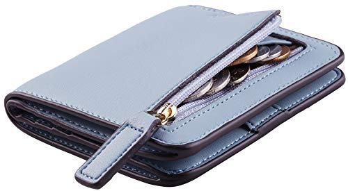 NapaWalli Womens Rfid Blocking Small Compact Bifold Luxury Genuine Leather Pocket Wallet Ladies Mini Purse with ID Window(ReNapa Blue Classic) - Travel Wallet Classic Leather