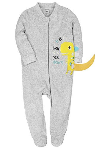 HONGLIN Footed Pajamas Baby Boys Girls Sleeper With Dinosaur Embroidering Zip Front 240 GSM For Winter