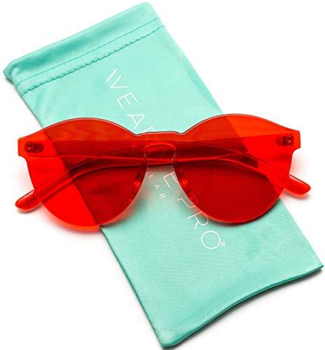 WearMe Pro - Colorful Transparent Round Super Retro Sunglasses (Red, 59) from WearMe Pro
