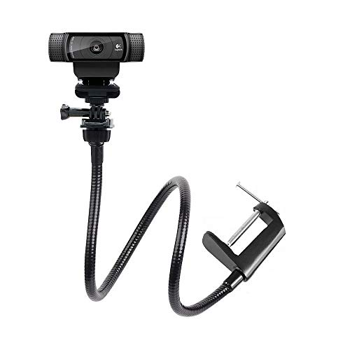 - 25 inch Flexible Jaw Long Arm Swivel Clamp Clip Mount Holder Stand for Logitech Webcam C925e C922x C922 C930e C930 C920 C615