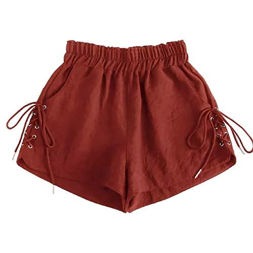 shijiazhuangxingxinjiaju Bathing Trunks,Womens Summer Elastic Waist Ringer Athletic Trouser Short Pants Red