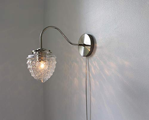 Chrome Wall Sconce Lamp, Acorn Shaped Textured Glass Globe Shade, Modern Gooseneck Wall Sconce Hanging Lighting Fixture