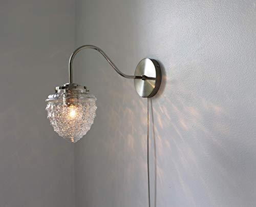 Chrome Wall Sconce Lamp, Acorn Shaped Textured Glass Globe Shade, Modern Gooseneck Wall Sconce Hanging Lighting ()