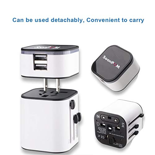 Travel Adapter Worldwide All in One Universal Travel Adaptor Wall AC Power Plug Adapter Wall Charger with Dual USB Charging Ports for USA EU UK AUS(White)