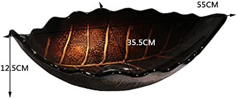 Minmin 浴室のシンク楕円形の葉産業風小さな中国アート流域上カウンター盆地レトロ洗面台付き蛇口セット、55×35.5×12.5センチ 芸術流域