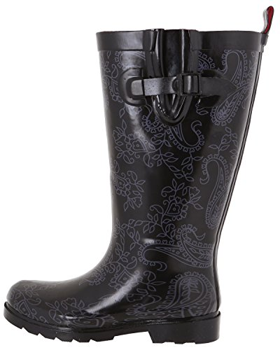 Shiny amp; Lace New Ladies Rainboot Tall Printed Lace Black York Roses Capelli IRwXqtI