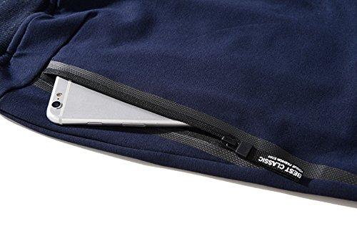 Tansozer Men's Shorts Casual Classic Fit Cotton Jogger Gym Shorts Elastic Waist Zipper Pockets (Black, Large) by Tansozer (Image #4)