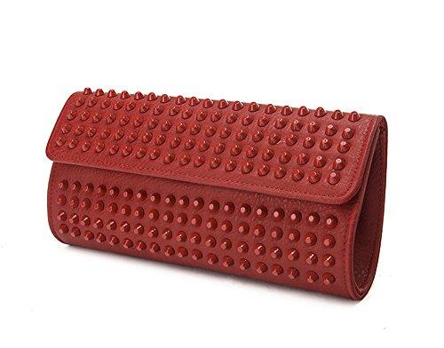 Bolso de Staples, bolso de hombro, bolso de tarde de moda, bolso de mano del remache, bolsos de la manera, bolso de mano ( Color : Rojo ) Vino rojo