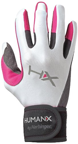 HumanX Women's X3 Full Finger Wrist Wrap Competition Glove, Pink/White/Black, Small