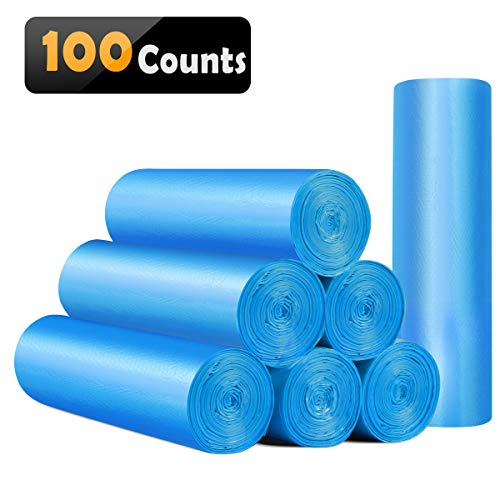 4 Large Bags - Small Trash Bags 4 Gallon Biodegradable Garbage Bags 100 Counts,Unscented Leak Proof Compostable Bags Wastebasket Liners for Office,Home,Bathroom, Bedroom,Car,Kitchen,Pet(Shiny Blue)