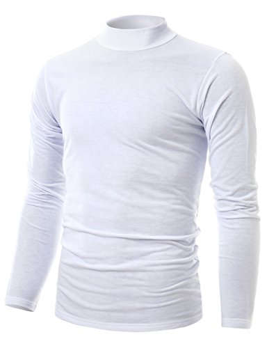 Ohoo Mens Slim Fit Soft Cotton Pullover Light Mock Turtleneck Neck/DCT020-WHITE-2XL
