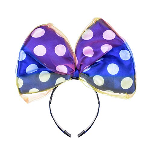 A Miaow Big Bow Daisy Duck Headband Mickey Mouse Minnie Hair Clasp Park Photo Accessory Girls Kids Adult (Blue With Tulle)]()