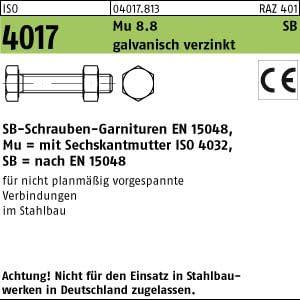 100 Sechskantschrauben Garnituren SB ISO 4017 8.8 CE Mu M10x60 verzinkt