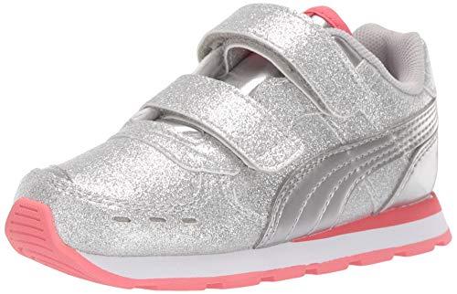 - PUMA Girls' Vista Glitz Velcro Sneaker, Silver-Calypso Coral White, 5 M US Toddler