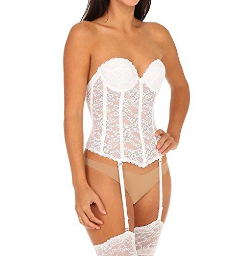 Lace Strapless Bustier (Va Bien Women's Lace Low Back Bustier, White, 34C )