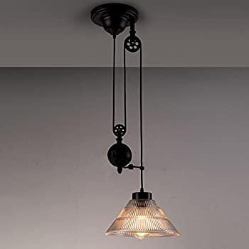 NIUYAO Edison Vintage Retro Loft Industrial Pulley Pendant Lights Lamp With  Cone Ribbed Glass Adjustable Wire