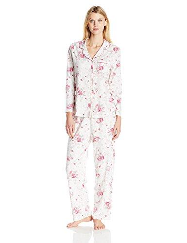 Karen Neuburger Women's Long-Sleeve Girlfriend Pajama Set PJ, Wine Berry Floral, Medium