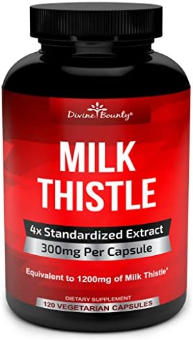 Pure Milk Thistle Capsules Supplement – A Potent 1200mg Milk Thistle Supplement with 4X Concentrated Extract Standardized 120 Vegetarian Capsules