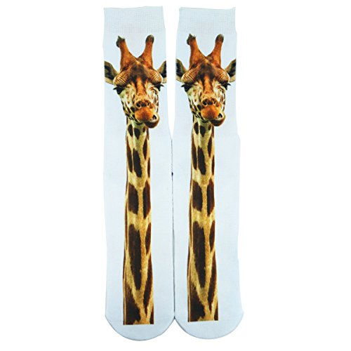 Zmart Crazy Cute Giraffe Athletic Sports Mismatch Funny Crew Cotton Animals Socks