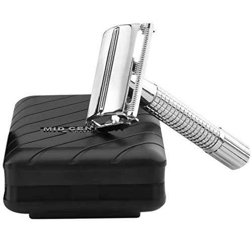 Price comparison product image Journeyman Safety Razor with safe-grip handle & 5 Double Edge (DE) Blades and Travel Case - Single Blade Butterfly/TTO Open Shaving Kit - Old Fashioned Classic Edged Wet Shave Set