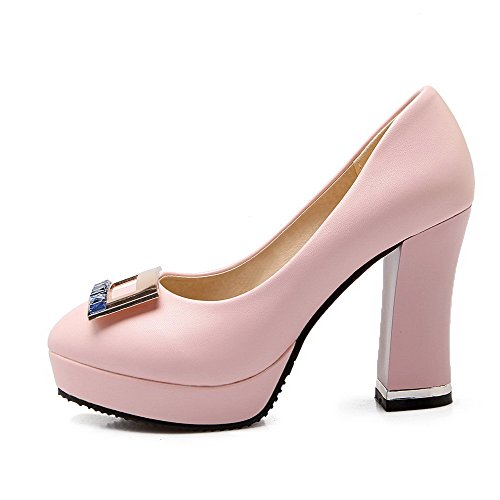 AllhqFashion Mujer Tacón Alto Material Suave Tachonado Sin cordones De salón Rosa