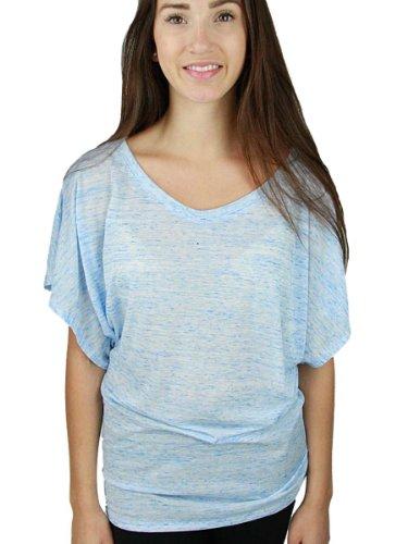 Boatneck Dolman Sleeve - YogaColors Crystal Boatneck Dolman Sleeve Blouse Jersey Tee Up to Plus Size (Large, Speckled Blue)