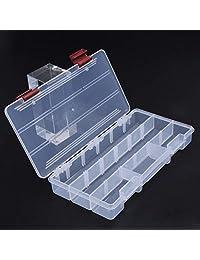 BeesClover Caja de señuelos de Pesca de plástico Transparente para Pesca de Carpas, Caja de Almacenamiento de cebos, Caja de Aparejos de Pesca, 5 Compartimentos