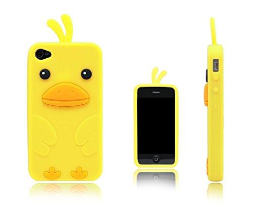 SKS Distribution® Caja amarilla del silicón del pollo / pájaro amarillo para el iphone 4 / 4s de la manzana