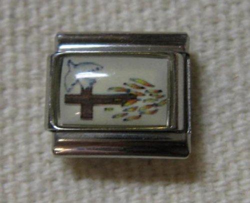 9mm Cross With Dove Italian Charm