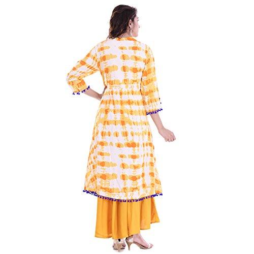 Chichi Indian Women Kurta Kurti 3/4 Sleeve Large Size Floral Printed Round Anarkali Orange-White Top by CHI (Image #1)